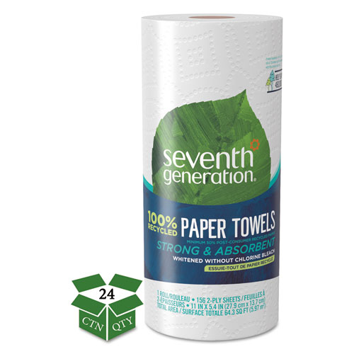 100 Recycled Paper Towel Rolls, 2-Ply, 11 x 5.4 Sheets, 156 Sheets/RL, 24 RL/CT