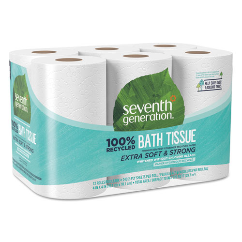 100 Recycled Bathroom Tissue, Septic Safe, 2-Ply, White, 240 Sheets/Roll, 12/Pack