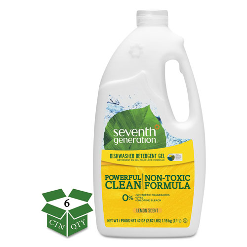 Natural Automatic Dishwasher Gel, Lemon, 42 oz Bottle, 6/Carton