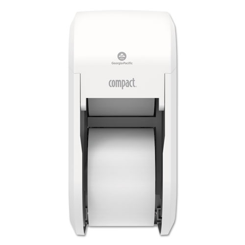 Compact Vertical 2-Roll Coreless Tissue Dispenser, 14.06 x 6.69 x 8.19, White