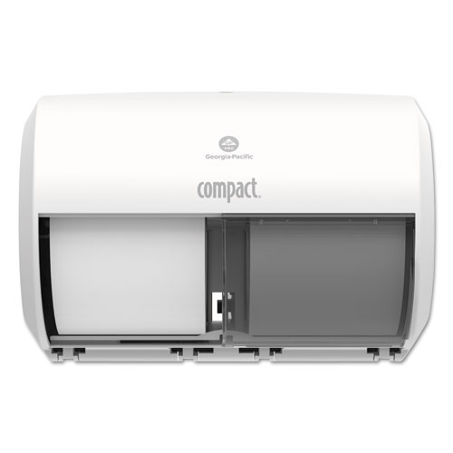 Compact Coreless Side-by-Side 2-Roll Tissue Dispenser, 11.31 x 7.69 x 8, White