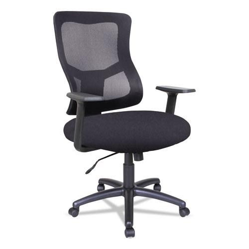 Alera® Alera Elusion II Series Mesh Mid-Back Swivel/Tilt Chair, Supports up to 275 lbs., Black Seat/Black Back, Black Base