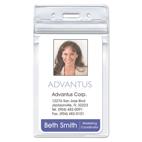 Advantus Resealable ID Badge Holder, Horizontal, 4 x 2 3/4, Clear, 50/Pack