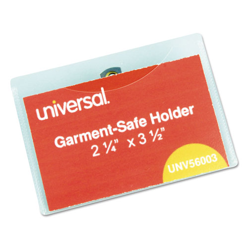 Clear Badge Holders w/Garment-Safe Clips, 2 1/4 x 3 1/2, White Inserts, 50/Box | by Plexsupply