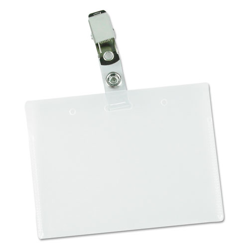 Deluxe Clear Badge Holder w/Garment-Safe Clips, 2.25 x 3.5, White Insert, 50/Box
