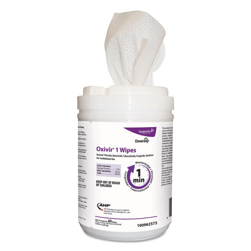 Oxivir 1 Wipes, Characteristic Scent, 10 x 10, 60 Wipes, 12/Carton