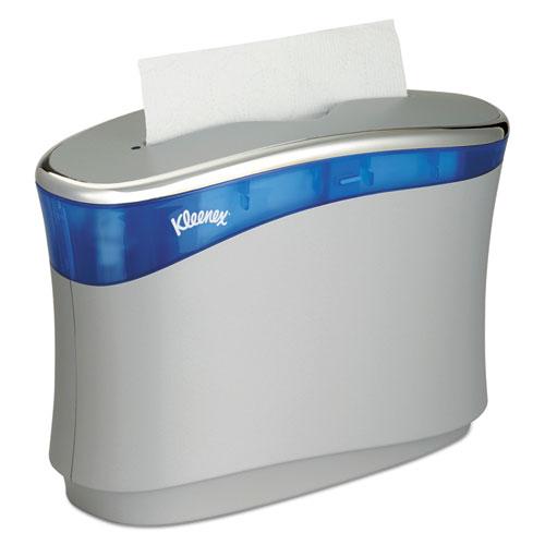 Reveal Countertop Folded Towel Dispenser, 13.3x9x5.2, Soft Gray/Translucent Blue