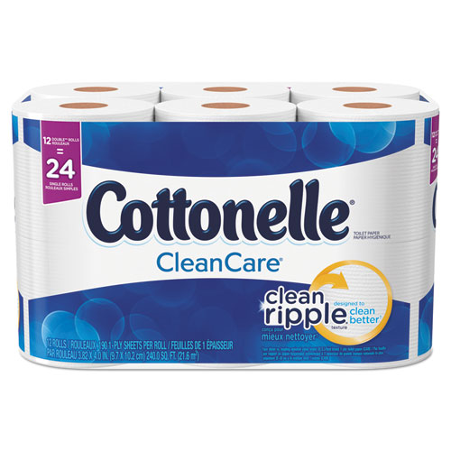 Cottonelle® Clean Care Bathroom Tissue, Septic Safe, 1-Ply, White, 170 Sheets/Roll, 48 Rolls/Carton