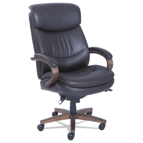 Woodbury Big and Tall Executive Chair, Supports up to 400 lbs., Brown Seat/Brown Back, Weathered Sand Base