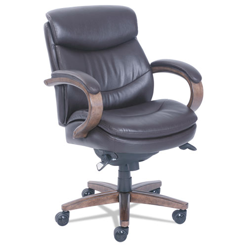 Woodbury Mid-Back Executive Chair, Supports up to 300 lbs., Brown Seat/Brown Back, Weathered Sand Base