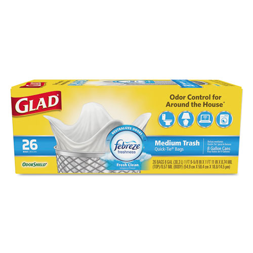 "Glad® OdorShield Medium Quick-Tie Trash Bags, 8 gal, 0.57 mil, 21.63"" x 23"", White, 26/Box"