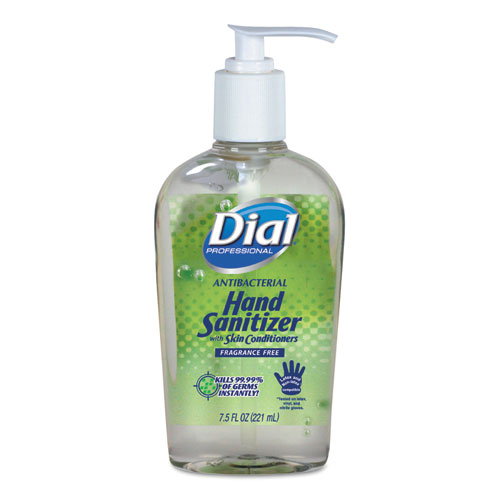 Dial® Professional Antibacterial with Moisturizers Gel Hand Sanitizer, 16 oz Pump, Fragrance-Free, 8/Carton