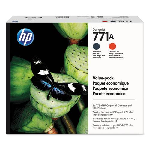 HP 771A, (P2V47A) Black, Red Printhead Original Ink Cartridge Value Pack