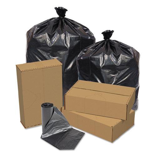Pitt Plastics Eco Strong Can Liners, 45 gal, 1.5 mil, 40 x 46, Black, 100/Carton