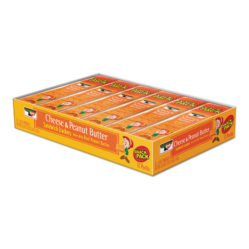 Sandwich Crackers, Cheese & Peanut Butter, 8-Piece Snack Pack, 12/Box