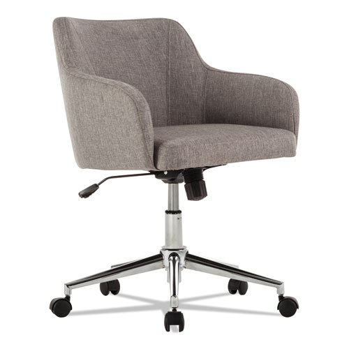 Alera Captain Series Mid-Back Chair, Supports up to 275 lbs, Gray Tweed Seat/Gray Tweed Back, Chrome Base
