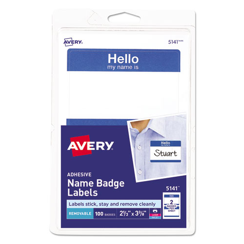 Printable Adhesive Name Badges, 3.38 x 2.33, Blue Hello, 100/Pack