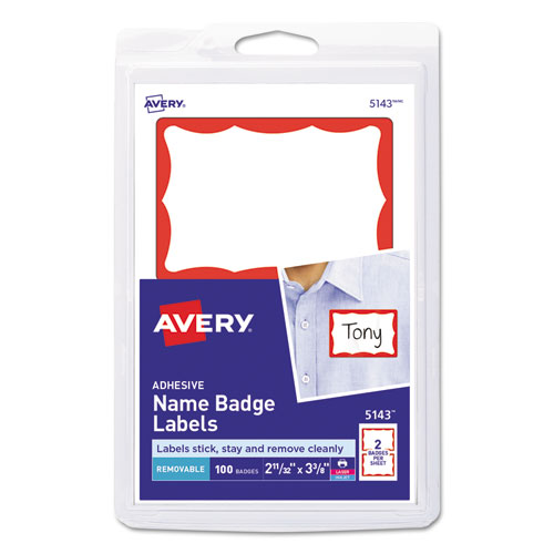 Printable Adhesive Name Badges, 3.38 x 2.33, Red Border, 100/Pack | by Plexsupply