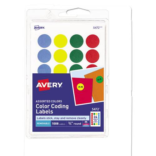 AVE05472 Avery Printable Removable Color Coding Labels