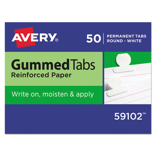 Gummed Reinforced Index Tabs, 1/12-Cut Tabs, White, 0.5 Wide, 50/Pack