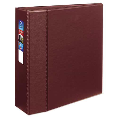 """Heavy-Duty Non-View Binder with DuraHinge and Locking One Touch EZD Rings, 3 Rings, 4"""" Capacity, 11 x 8.5, Maroon 