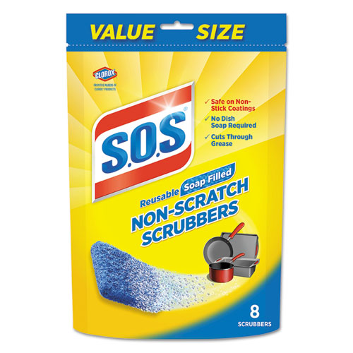 S.O.S.® Non-Scratch Soap Scrubbers, Blue, 8/Pack, 6 Packs/Carton