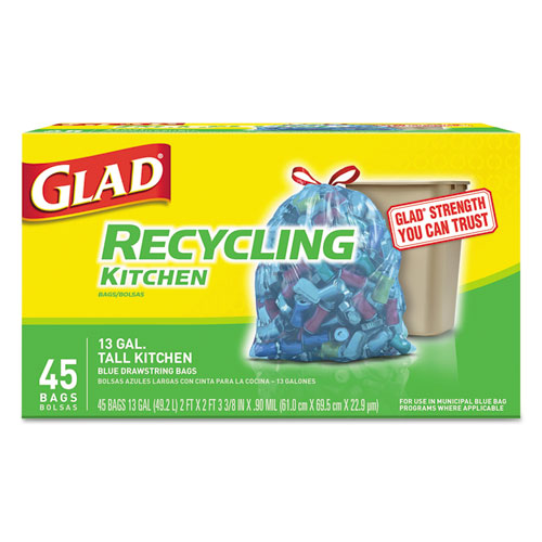Glad® Tall Kitchen Blue Recycling Bags, 13 gal, 0.9 mil, Blue, 180/Carton