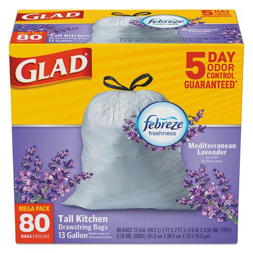 Glad® OdorShield Kitchen Drawstring Bag, Lavender Breeze, 13gal, White, 80/BX, 3 BX/CT