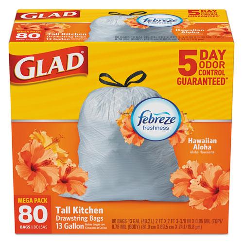 Glad® OdorShield Kitchen Drawstring Bag, Hawaiian Aloha, 13 gal, White, 80/BX, 3 BX/CT