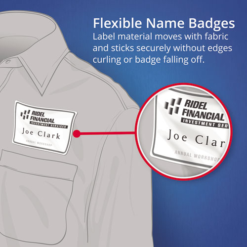 Flexible Adhesive Name Badge Labels, 3.38 x 2.33, White, 160/Pack