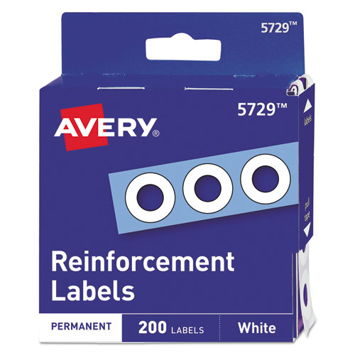 Dispenser Pack Hole Reinforcements, 1/4 Dia, White, 200/Pack, (5729)