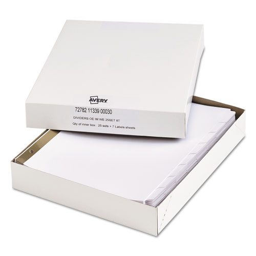 Index Dividers with White Labels, 8-Tab, 11.5 x 9.75, White, 25 Sets