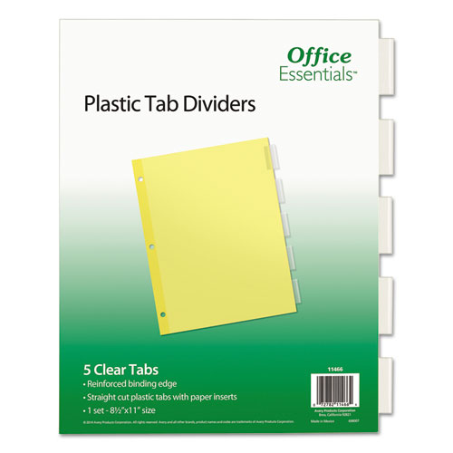 Plastic Insertable Dividers, 5-Tab, Letter | by Plexsupply