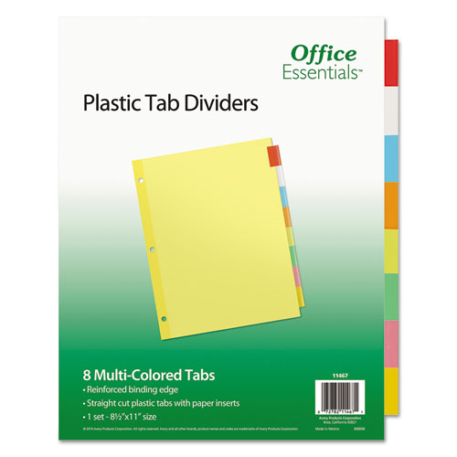 Plastic Insertable Dividers, 8-Tab, Letter | by Plexsupply