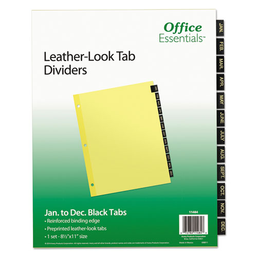 Preprinted Black Leather Tab Dividers, 12-Tab, Letter