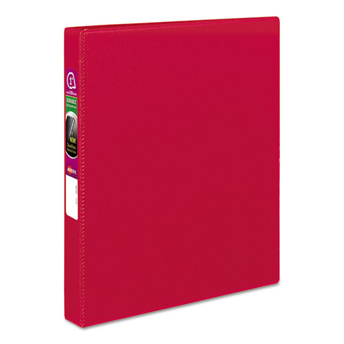 "Avery® Durable Non-View Binder with DuraHinge and Slant Rings, 3 Rings, 1"" Capacity, 11 x 8.5, Red"