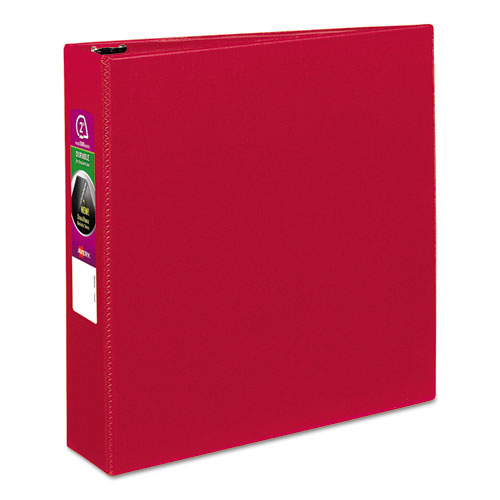 "Avery® Durable Non-View Binder with DuraHinge and Slant Rings, 3 Rings, 2"" Capacity, 11 x 8.5, Red"