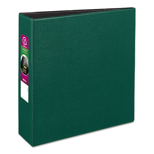 "Avery® Durable Non-View Binder with DuraHinge and Slant Rings, 3 Rings, 3"" Capacity, 11 x 8.5, Green"