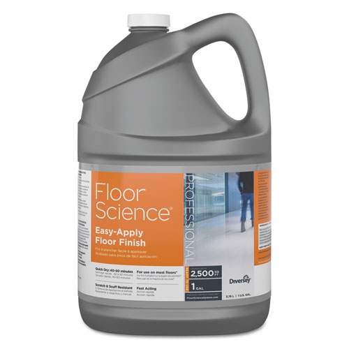 Floor Science Easy Apply Floor Finish, Ammonia Scent, 1 gal Container, 4/Carton