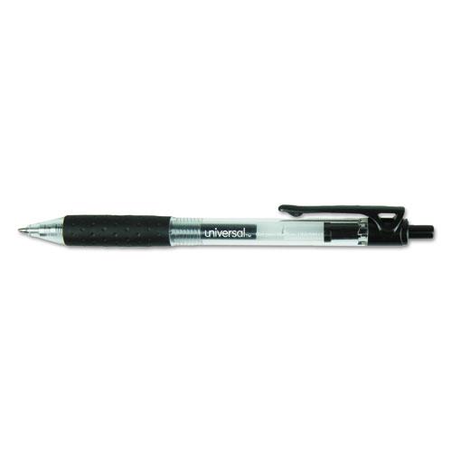 Comfort Grip Retractable Gel Pen, 0.7mm, Black Ink, Smoke Barrel, Dozen | by Plexsupply