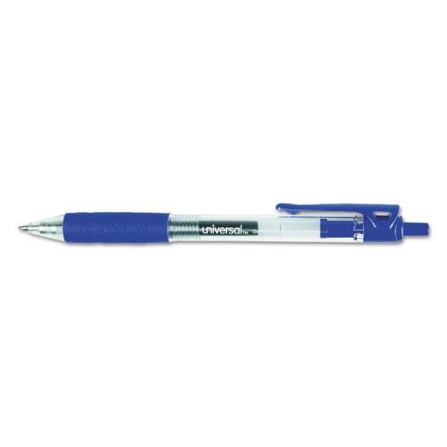 Comfort Grip Clear Retractable Gel Ink Roller Ball Pen, Blue Ink, .7mm, Dozen