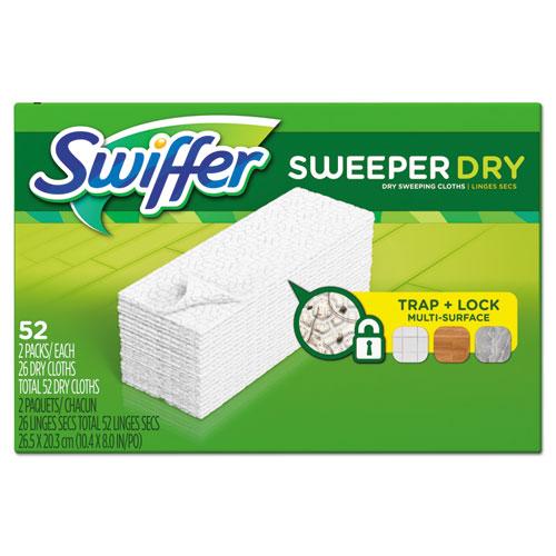 "Swiffer® Dry Refill Cloths, 10 5/8"" x 8"", White, 208/Carton"
