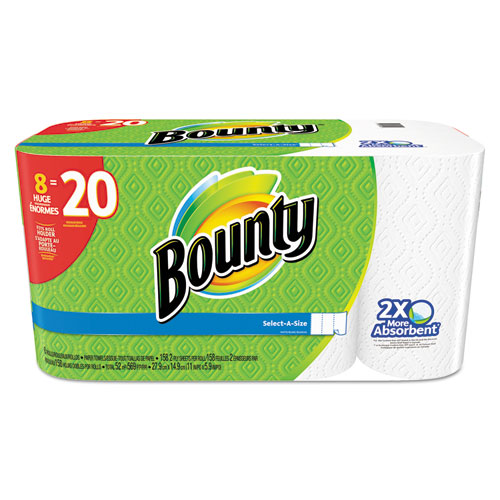 """Bounty® Perforated Towel Rolls, 2-Ply, White, 5.9"""" x 11"""", 8/Pack"""