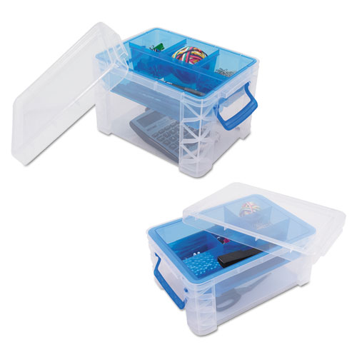 Advantus Super Stacker Divided Storage Box Clear w/Blue Tray/Handles 10.3  sc 1 st  Packaging Alternatives Corporation & Advantus Super Stacker Divided Storage Box Clear w/Blue Tray ...