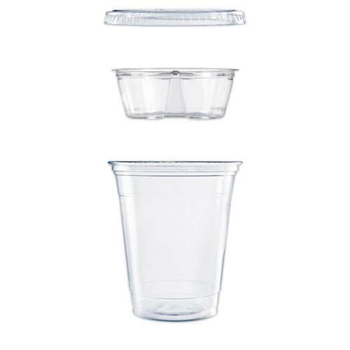 Dart® Clear PET Cups with Single Compartment Insert, 12 oz, Clear, 500/Carton