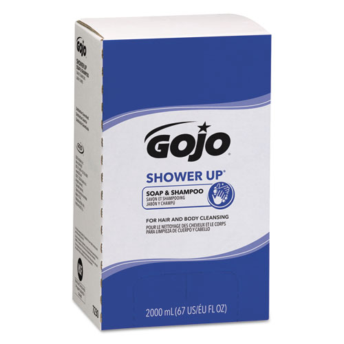 GOJO® SHOWER UP Soap and Shampoo, Rose Colored, Pleasant Scent, 2000mL Refill, 4/CT