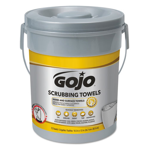 GOJO® Scrubbing Towels, Hand Cleaning, Silver/Yellow, 10 1/2 x12, 72/Canister