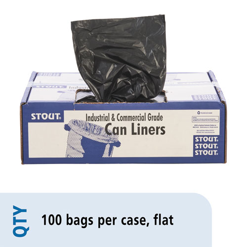 """Stout® by Envision™ Total Recycled Content Plastic Trash Bags, 60 gal, 1.5 mil, 36"""" x 58"""", Brown/Black, 100/Carton"""