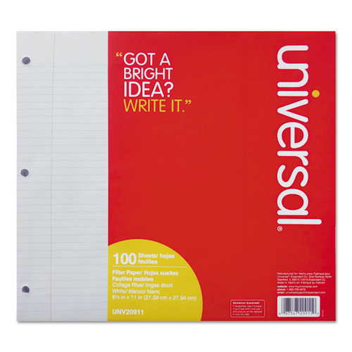 Filler Paper, 3-Hole, 8.5 x 11, Medium/College Rule, 100/Pack