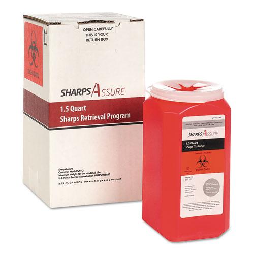 Sharps Retrieval Program Containers, 1.5 qt, Plastic, Red